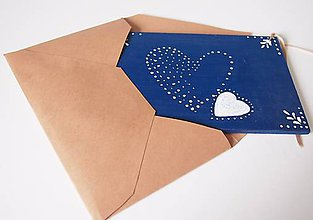 Papiernictvo - Drevená pohľadnica - Valentínko v modrom - 6342667_
