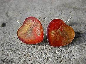 Náušnice - Veľké srdiečka (Maľované srdiečka oranžovočervené - veľké, č.1493) - 6338666_