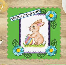 Papiernictvo - Veľkonočný zajačik a pruhovaná kraslica - veľkonočná pohľadnica 7 - 6341375_