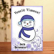 Papiernictvo - Snehuliačik - vianočná pohľadnica (milý týpek) - 6342340_