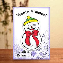 Papiernictvo - Snehuliačik - vianočná pohľadnica (žmurkajúci smejko) - 6342341_
