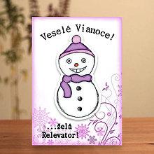 Papiernictvo - Snehuliačik - vianočná pohľadnica (model) - 6342343_