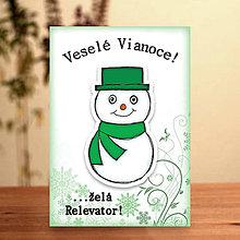 Papiernictvo - Snehuliačik - vianočná pohľadnica (elegán) - 6342345_