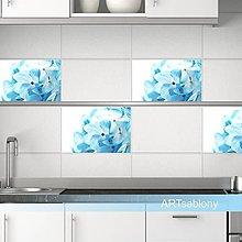 Dekorácie - 1039k Nálepky na kachličky - Kvietky v modrom - 6344356_