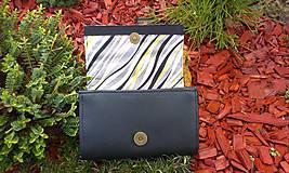 Peňaženky - Pestrá peňaženka na 8 kariet,koženka+bavlna - 6344454_