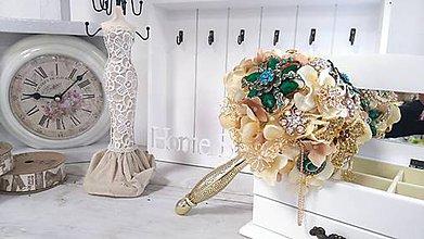Kytice pre nevestu - luxusná kytica zo šperkov - 6344418_