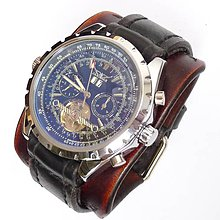 Náramky - Kožené hodinky hnedo čierne samonaťahovacie - 6345913_