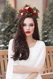 Ozdoby do vlasov - Svadobná kvetinová korunka \