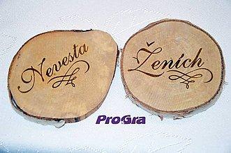 Dekorácie - Ženích - Nevesta - gravírované brezové dekorácie - 6347391_