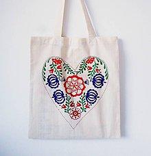 Nákupné tašky - EKO taška, nákupka Folk srdce - 6348925_