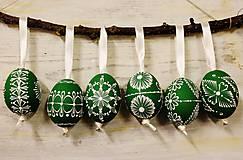Dekorácie - KRASLICE /slepačie maľované vajíčka/ - zelená tmavá - 6347438_