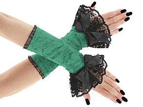Iné oblečenie - Zamatové rukavičky čierno zelené s čipkou 03C - 6354350_