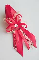 Svadobné pieko veľké - červeno - krémové s čipkou