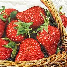 Papier - S611 - Servítky - jahody, plný košík jahôd - 6355830_