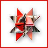 Dekorácie - 3D hviezda z papiera - hustý pásik - 6355448_