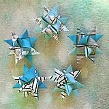 Dekorácie - Vintage 3D hviezdy z papiera - tyrkysové - 6355461_