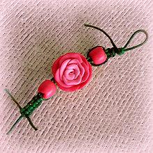 Kľúčenky - Ružička ružová - shamballa kľúčenka - 6354515_