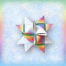 Dekorácie - Vianočná 3D hviezda z papiera dúhová - 6354892_
