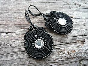 Náušnice - Soutache náušnice Mini Black - 6360344_