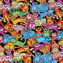 Textil - Cats in the closet black, š. 145cm - 6359868_