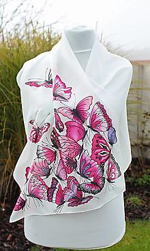 Šatky - Hodvábna šatka s motýľmi - Motýlí žúr-cyklámen - 6361209_