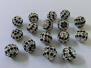 Korálky - Shamballa korálky 10 mm - melírované smaragdové - 6359803_