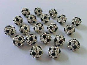 Korálky - Shamballa korálky 10 mm - Futbalový štýl - 6359819_