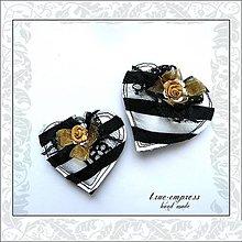 Dekorácie - Čierno-biele srdiečko-dekorácia - 6360991_