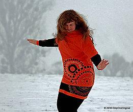 Mikiny - Dámska mikina s kapucou farbená a maľovaná ZORNIČKA - 6357044_