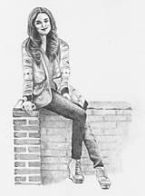 Kresby - Sediaca postava na múriku - 6357385_