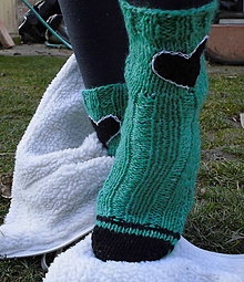 Obuv - Ponožky - zelené srdiečka - vlnené - 6358681_