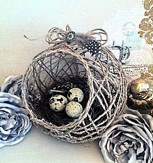 Dekorácie - Jutové hniezdočko s kraslicami - 6357220_