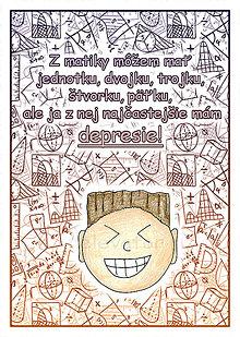 Papiernictvo - (ne)Depresívna matematika - linajková podložka do zošita - 6360808_