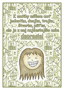 Papiernictvo - (ne)Depresívna matematika - linajková podložka do zošita (9) - 6360818_
