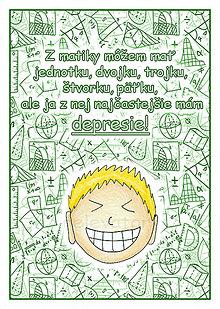 Papiernictvo - (ne)Depresívna matematika - linajková podložka do zošita (12) - 6360838_