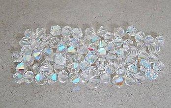 Korálky - Brúsené korálky- slniečka, krystal s AB pokovom, 5mm/10ks - 6362297_