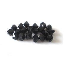 Korálky - Brúsené korálky- slniečka, čierne lesklé, 4mm/15ks - 6362439_
