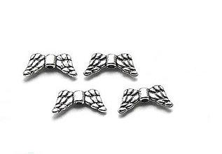 Korálky - Krídielka prešívané, postriebrené - 6365356_