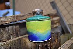 Nádoby - Dóza modro - zelená