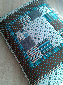 """Úžitkový textil - Patchwork vankúš """"tyrkysovo-hnedá krása.."""" - 6362416_"""