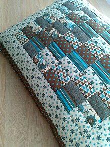 """Úžitkový textil - Patchwork vankúš """"tyrkysovo-hnedá krása.."""" - 6362462_"""