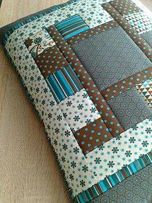 """Úžitkový textil - Patchwork vankúš """"tyrkysovo-hnedá krása.."""" - 6362477_"""