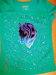 Tričká - maľované tričko koník - 6364108_