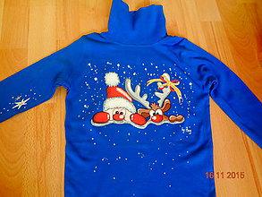 Detské oblečenie - maľované tričko vianoce - 6364153_