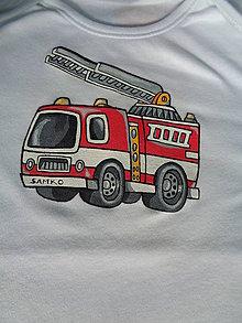 Detské oblečenie - maľované tričko hasiči - 6364259_