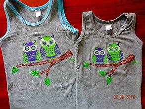 Detské oblečenie - maľované tričko sovičky - 6364268_
