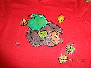 Detské oblečenie - maľované tričko ježko - 6364279_