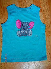 Detské oblečenie - maľované tričko sloník - 6364332_