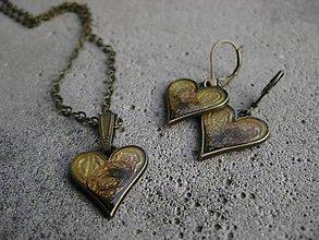 Sady šperkov - Srdiečka kávové - sada č.1499 - 6364368_