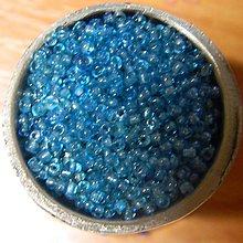 Korálky - Rokajl okrúhly 2mm s prieťahom (tyrkys biely prieťah) - 6365135_